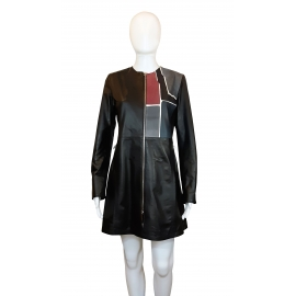 LEATHER LONG JACKET WINE SQUARE