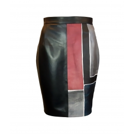 LEATHER SKIRT WINE SQUARE