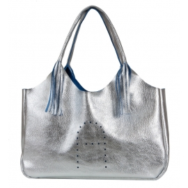 SILVER-COLORED HANDBAG WITH FRINGES