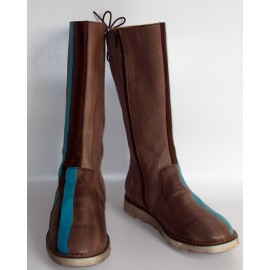 BROWN BLUE AND GREY BOOTS