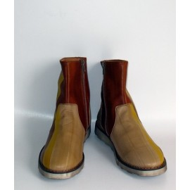 LEATHER BROWN, GREEN AND BEIGE ANKLE BOOTS