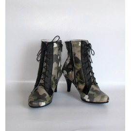 CAMOUFLAGE GREY ANKLE BOOTS