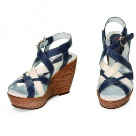 WEDGE SANDALS BLU AND BIANCO