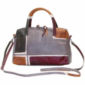 HANDBAG ACQUERELLO TAUPE GEOMETRICO SMALL