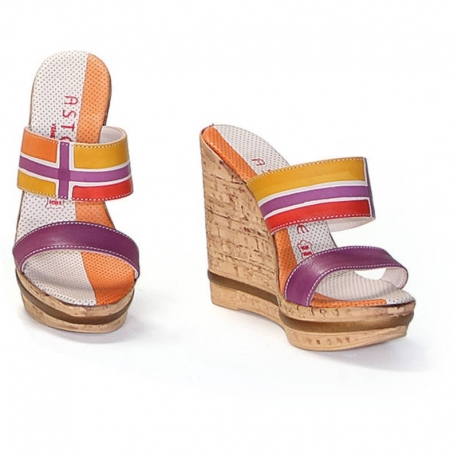 ACQUERELLO PLATINO GEOMETRICO WEDGE SANDALS