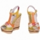 ACQUERELLO AVORIO FIORE WEDGE SANDALS