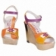 ACQUERELLO PLATINO FIORE WEDGE SANDALS
