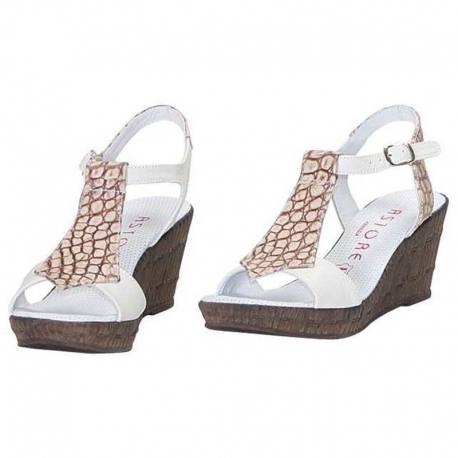 ANIMALIER COCCO BEIGE WEDGE SANDALS