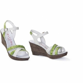ANIMALIER COCCO VERDE WEDGE SANDALS