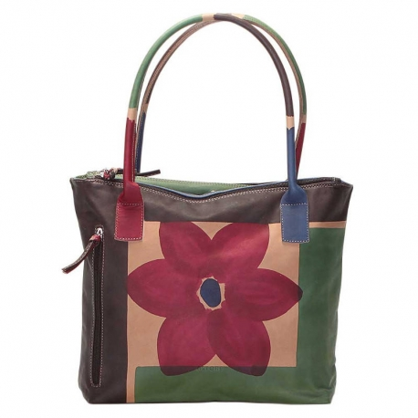BORSA ACQUERELLO MARRONE FIORE