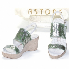 SILVER ANIMALIER PITONATO VERDE WEDGE SANDALS