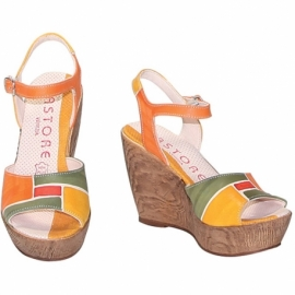 ACQUERELLO STEPPA SPIRE WEDGE SANDALS