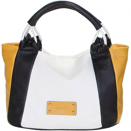 CITY VITELLO GHIACCIO BLACK AND YELLOW HANDBAG