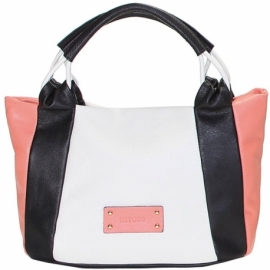 BORSA CITY VITELLO GHIACCIO NERO E ROSA