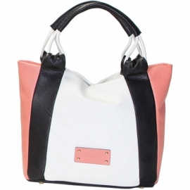 CITY VITELLO GHIACCIO BLACK AND PINK HANDBAG