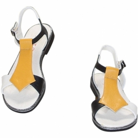 VITELLO GHIACCIO BLACK AND YELLOW SANDALS