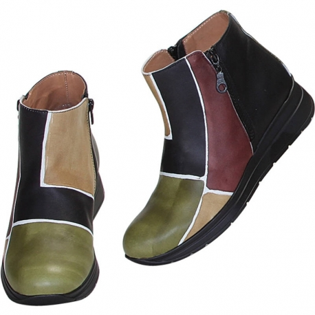 CAMOUFLAGE SQUARE ANKLE BOOTS