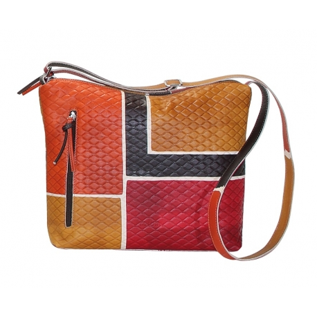 BORSA TRACOLLA ACQUERELLO GRATA BROWN SQUARE