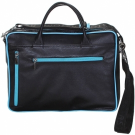 BUSINESS LIGHT BLUE AND BLACK ACROSS BODY BAG