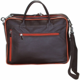 BUSINESS BROWN AND ORANGE ACROSS BODY BAG
