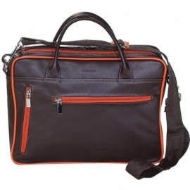 BORSA TRACOLLA BUSINESS MARRONE E ARANCIO