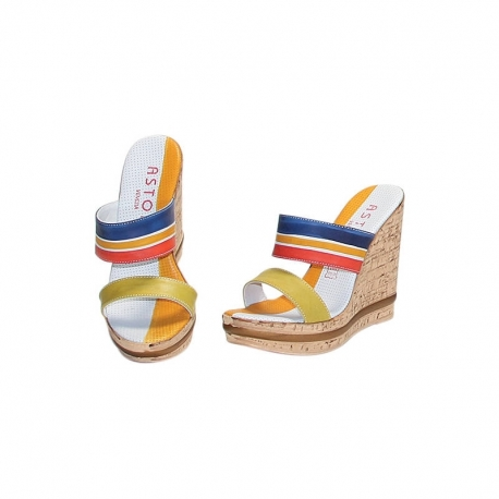 ACQUERELLO BLUE ALBA WEDGE SANDALS
