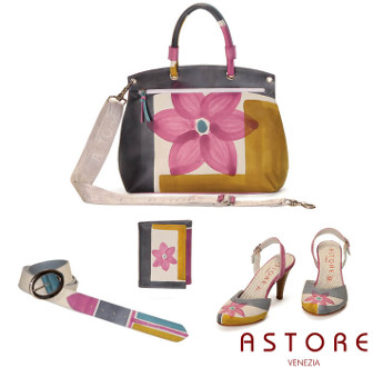 Astore hand painted rose flower leather handbags and shoes