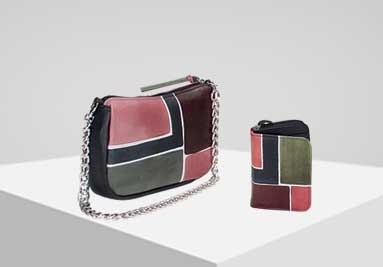 Genuine leather hand painted handbags and shoes for woman